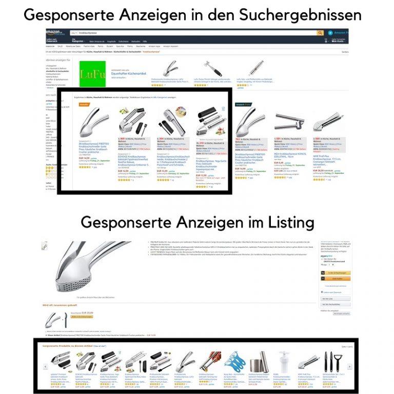 Orte an welchen Amazon PPC Kampagnen ihre Anzeigen ausstrahlen.