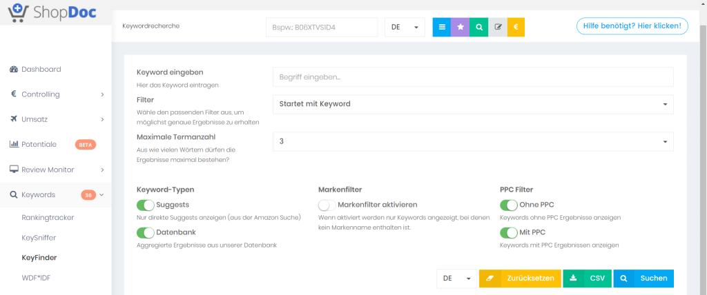 KeyFinder, das Keywordtool von ShopDoc.